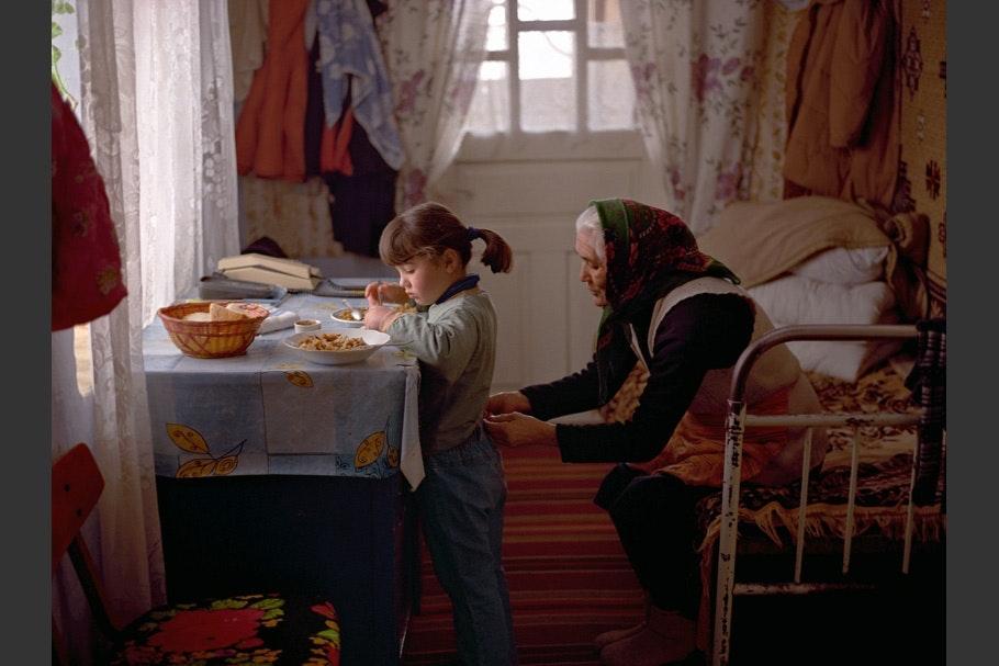 Girl with grandmother.