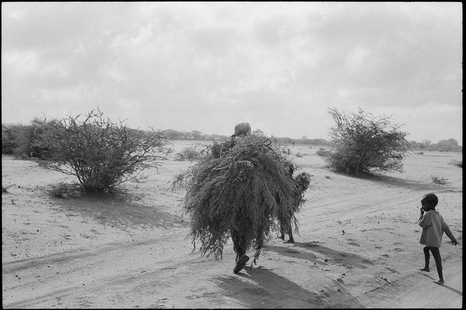 Woman carrying thatch with a child on the right.
