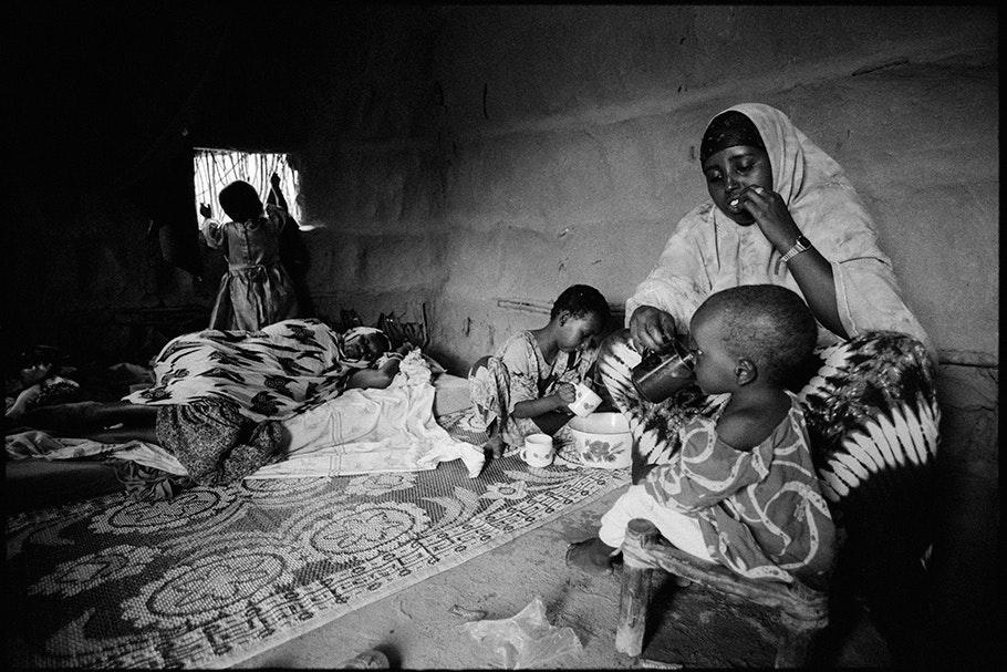 Family inside a home.