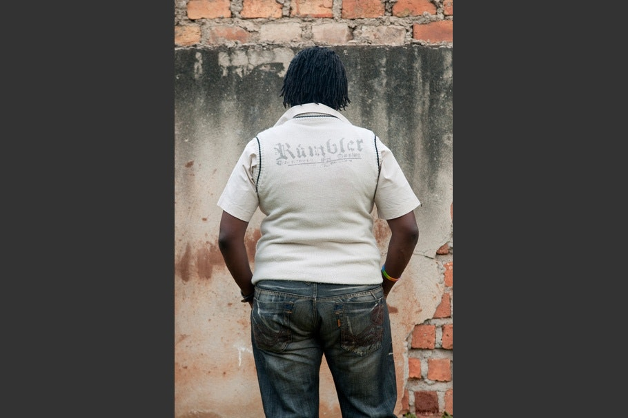 "White vest with ""Rambler"" on back."