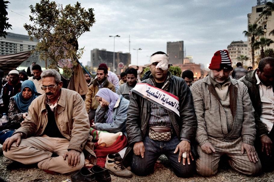 Wounded men praying.