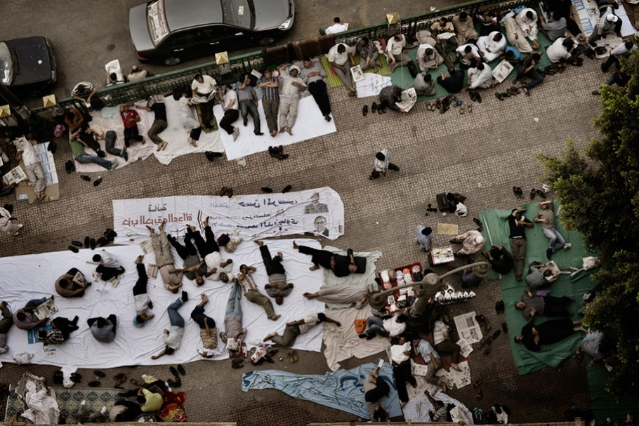 People camping overnight in Tahrir Square.