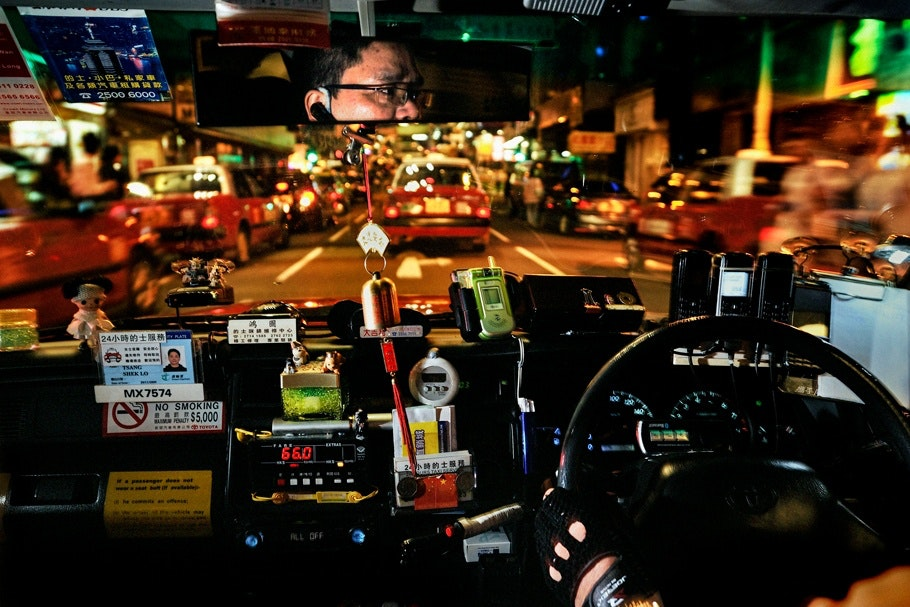 Dashboard, interior of taxi cab