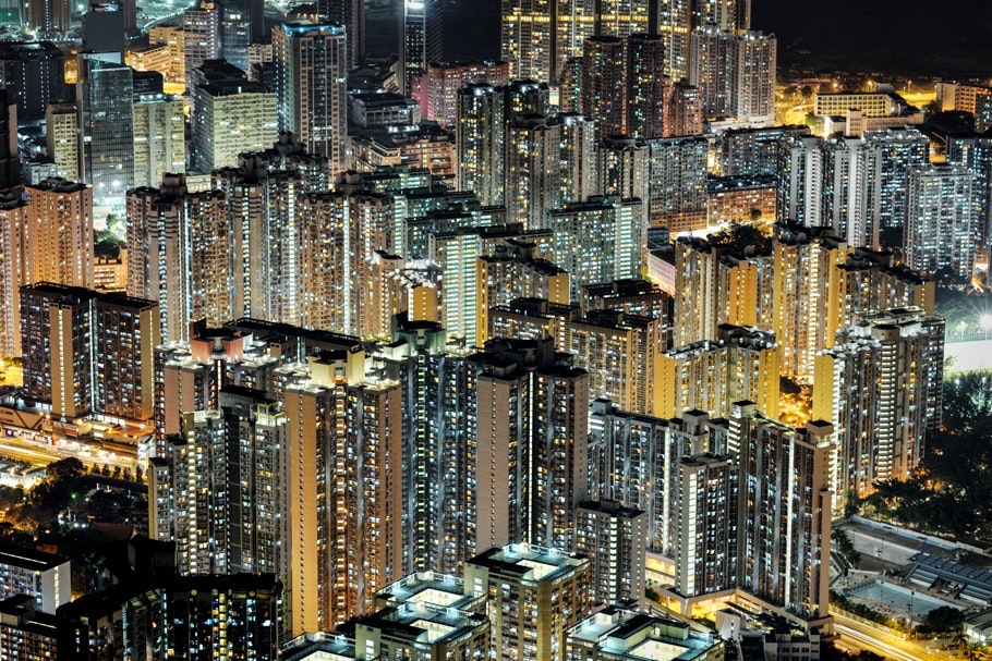 Aerial view of high-rises at night