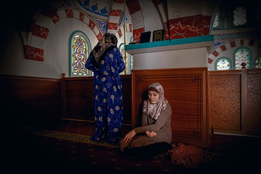 Two women in a mosque