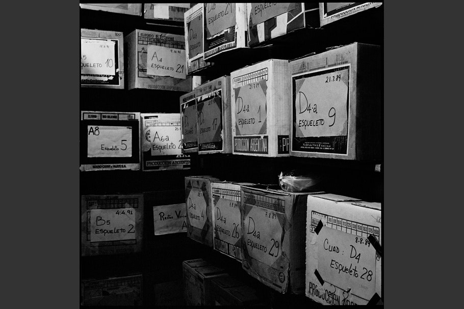 File boxes on shelves in a storage room