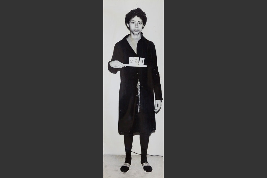"Mug shot of a woman standing and holding sign that reads ""230."""