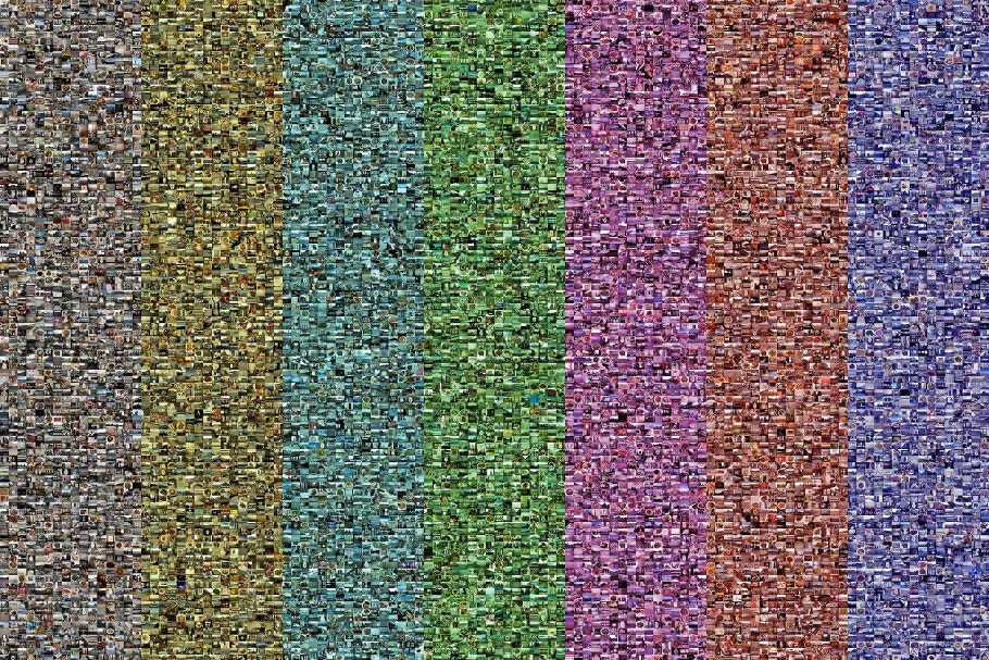 Colored bars created by composite grid of thousands of photographs.