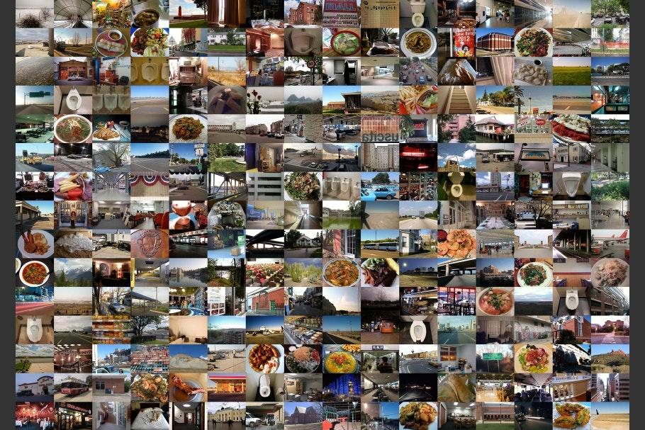 Composite grid of photographs of mundane details of everyday life.
