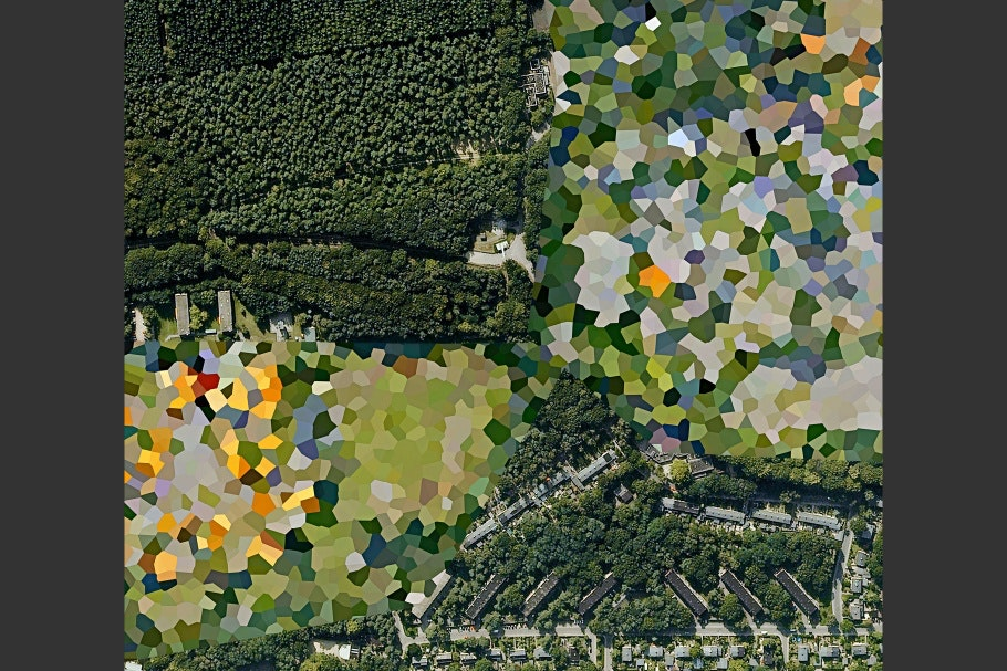 Google Earth image of landscape with polygon patterns obscuring part of image