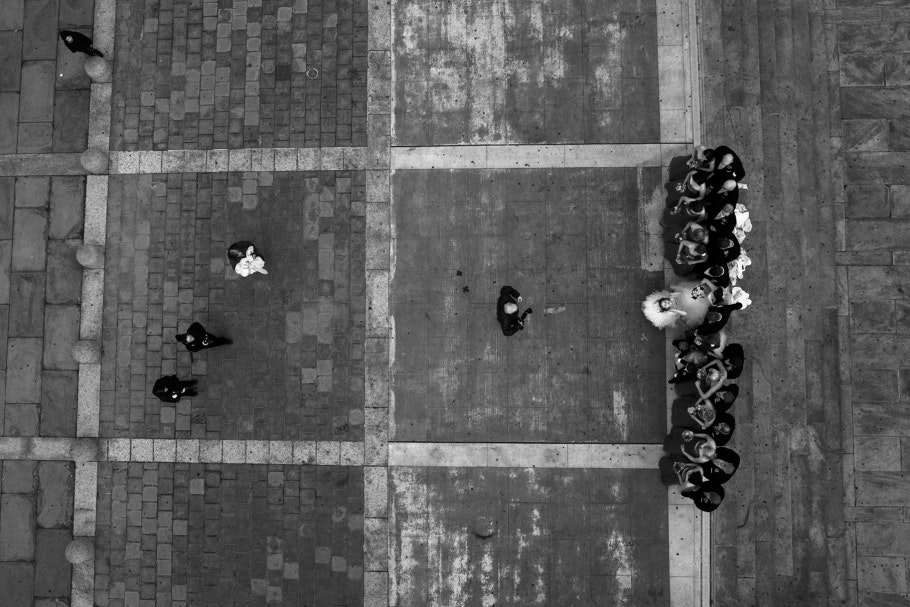 Aerial photograph of wedding party