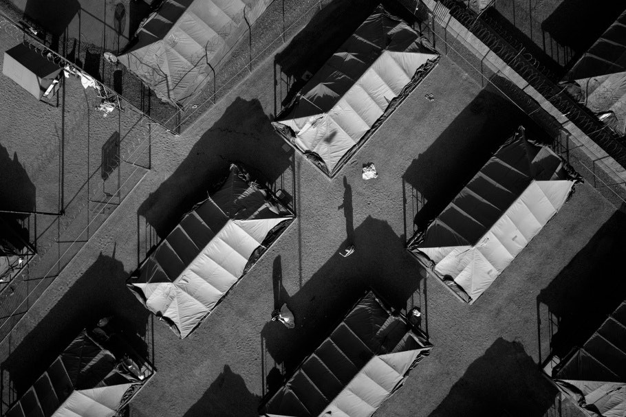 """Aerial photograph of """"tent city"""" jail"""