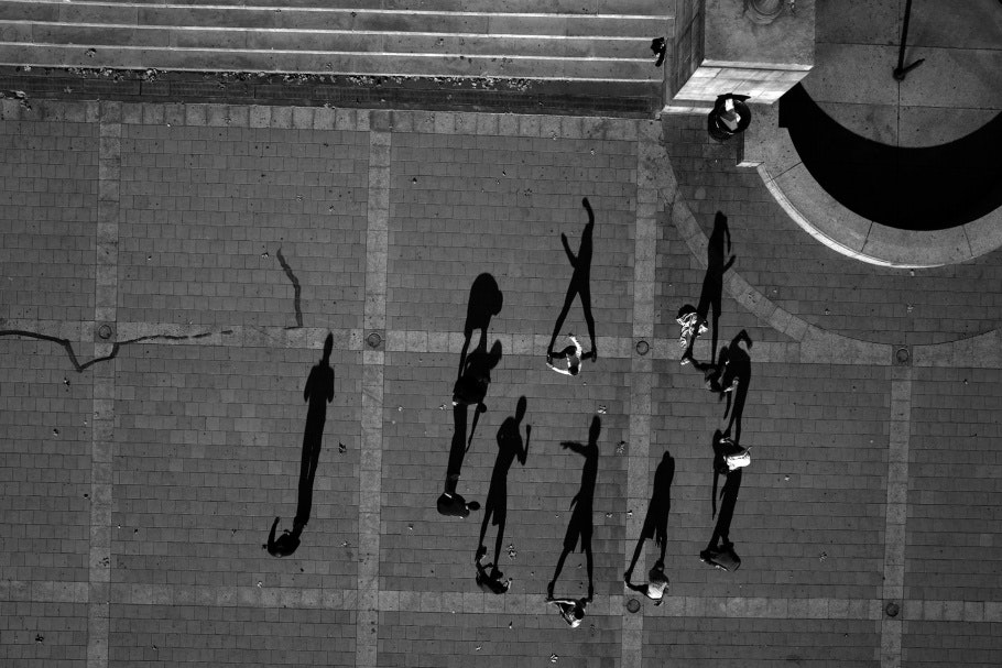 Aerial photograph of people exercising in a circular formation
