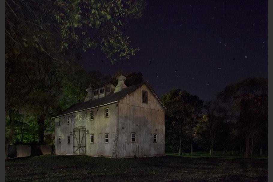A barn at night