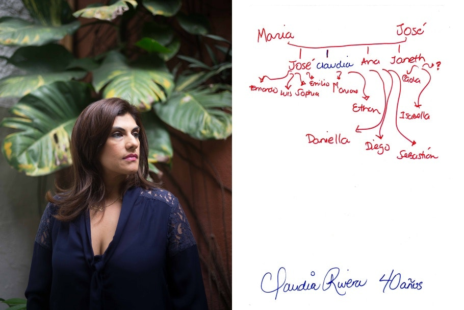 A diptych of a woman standing in front of a plant and a hand-drawn family tree