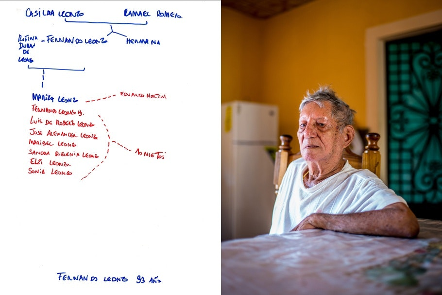 A diptych of an elderly man and a hand-drawn family tree