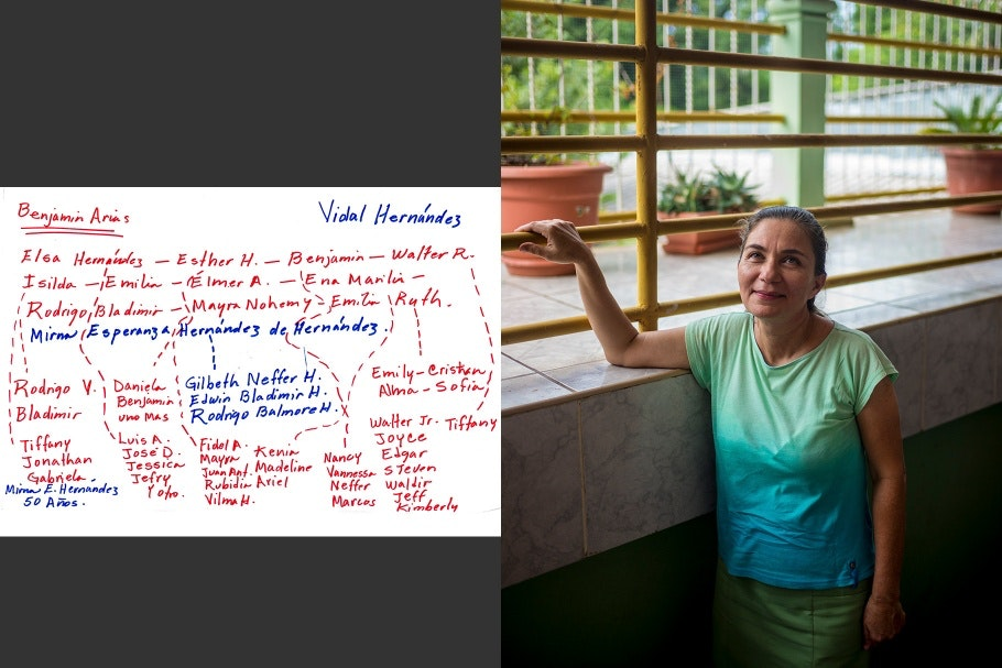 A diptych of a woman resting her hand on a railing and a hand-drawn family tree