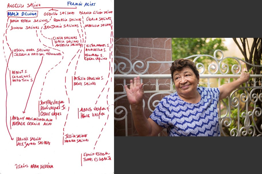 A diptych of a woman waving and a hand-drawn family tree