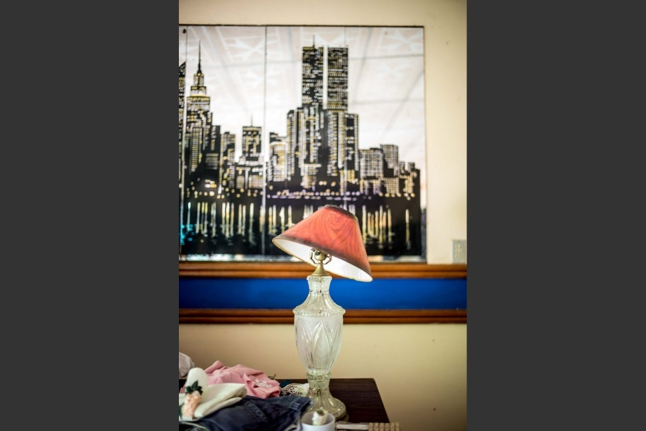 A print of New York City skyline and a lamp