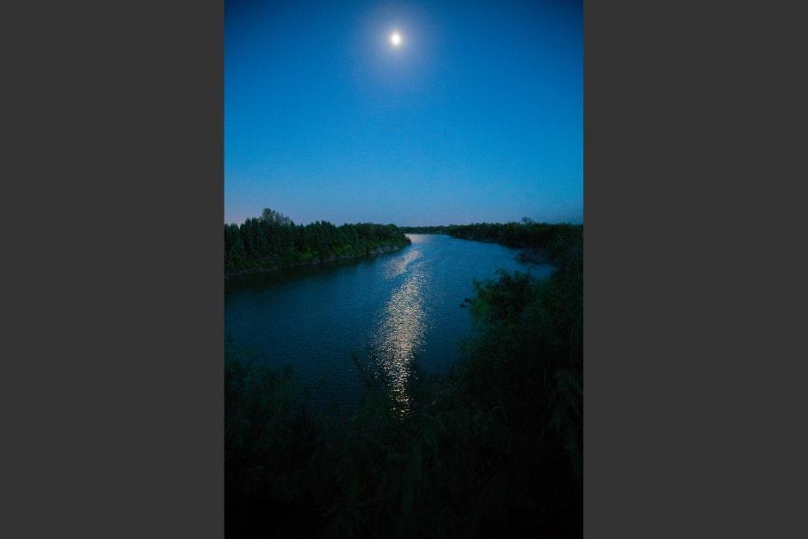 The Rio Grande river at night
