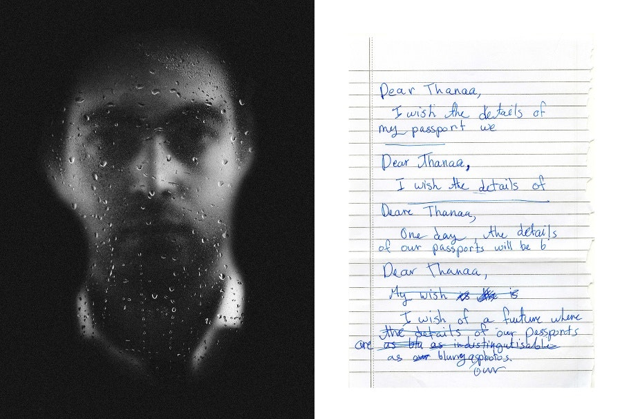 A diptych A face behind wet glass and a handwritten letter
