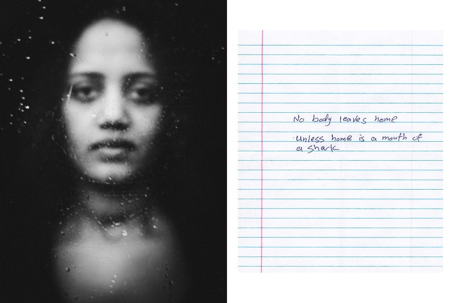A diptych of a woman and a short handwritten note on lined paper