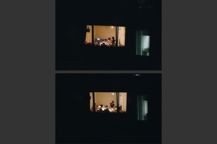 A diptych of window with children in a room and a window with a woman and children in a room