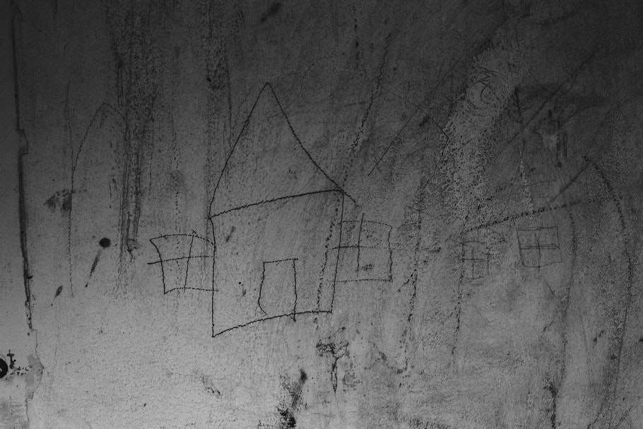 Drawing on a wall of a house