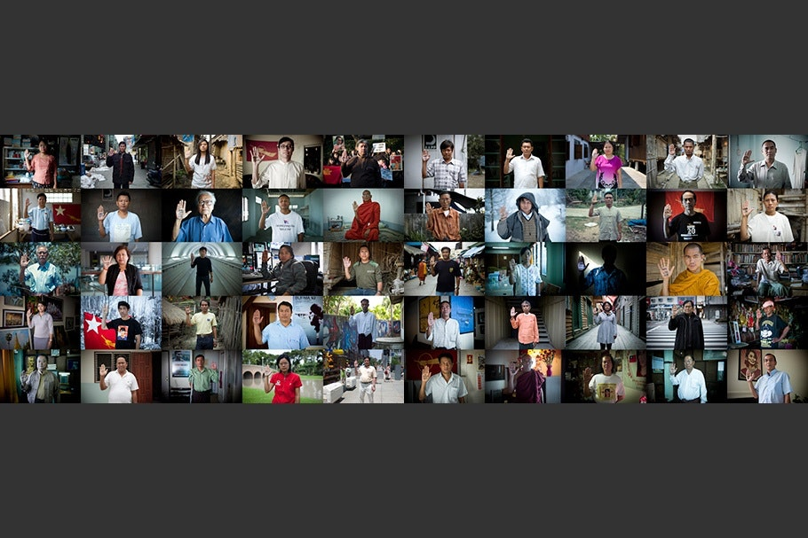 Grid with images of people raising their hands.