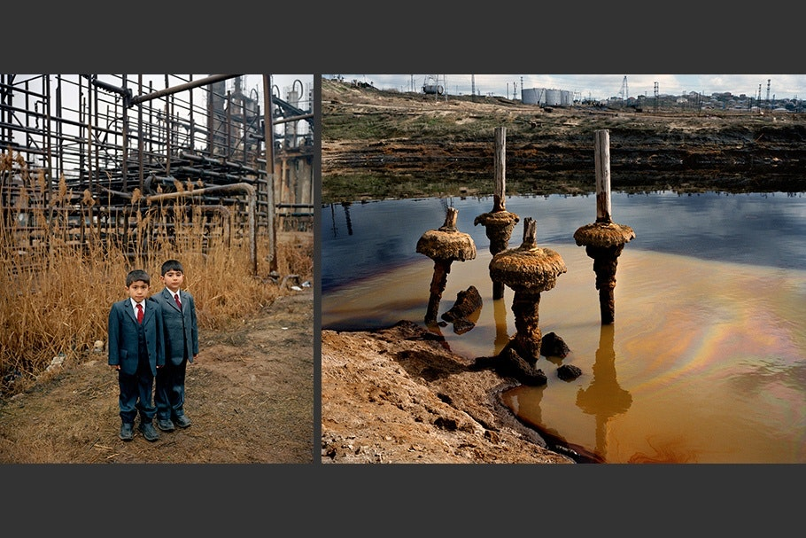 An image of two schoolboys next to an image of an oil field.