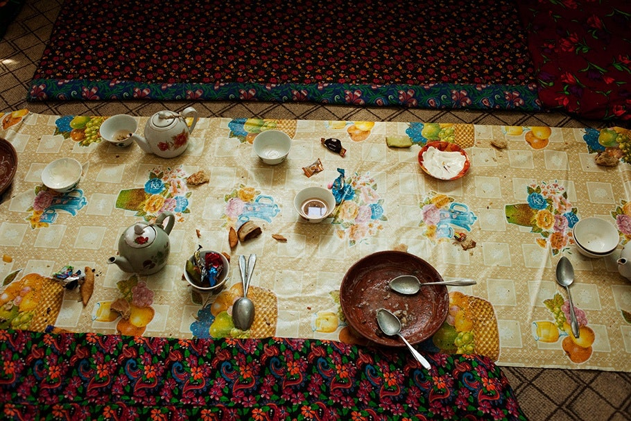 Table with food, viewed from above.