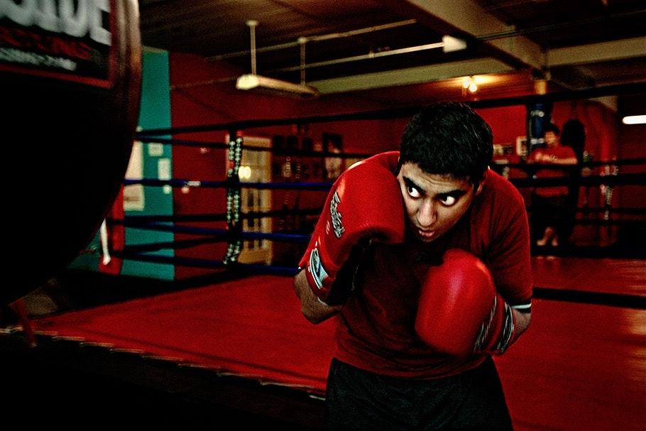 A boxer at a gym.