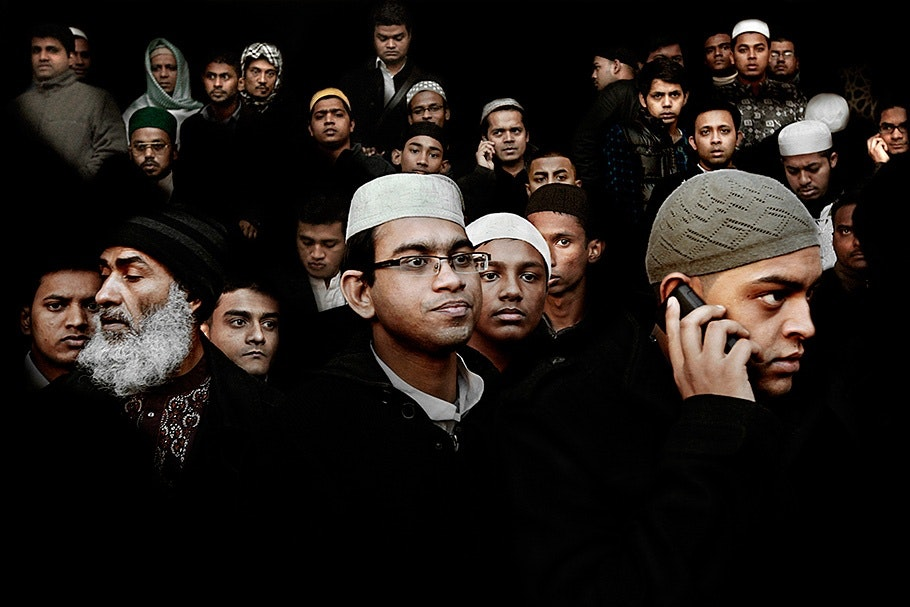 A large group of Muslim men.