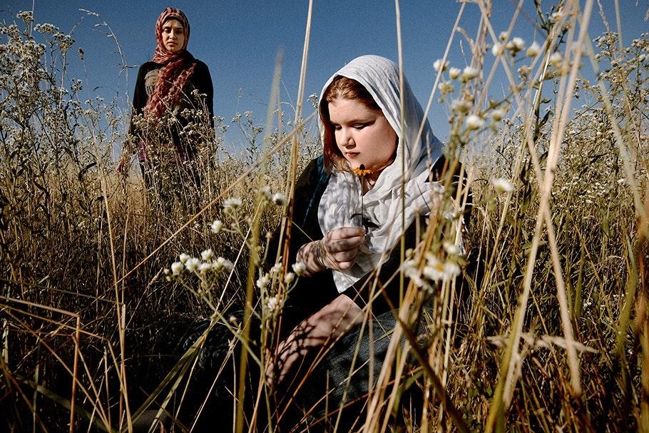 Girls in a field.