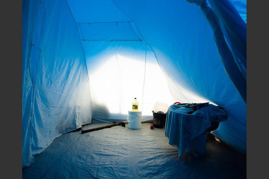 Interior of tent.