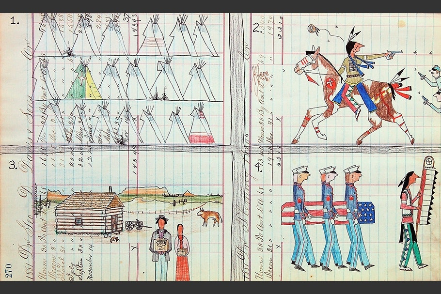 Drawing of four scenes with Native Americans.