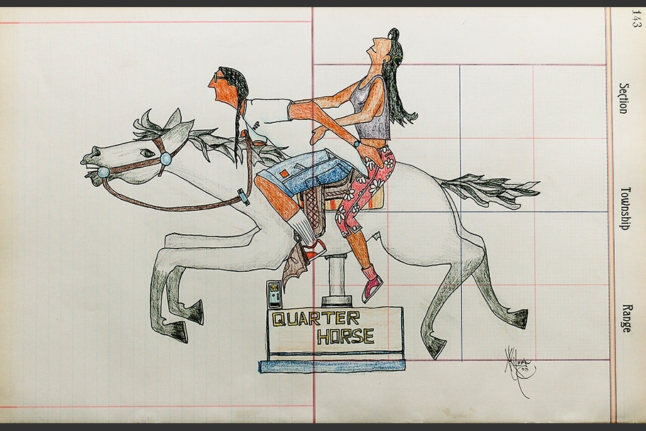 A drawing of a man and woman on a horse.