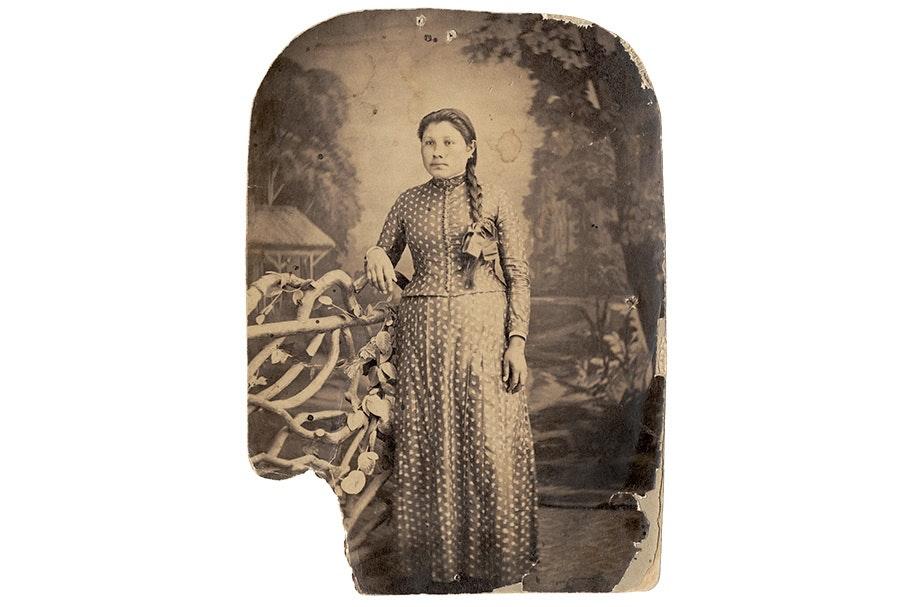 Studio portrait of a woman.