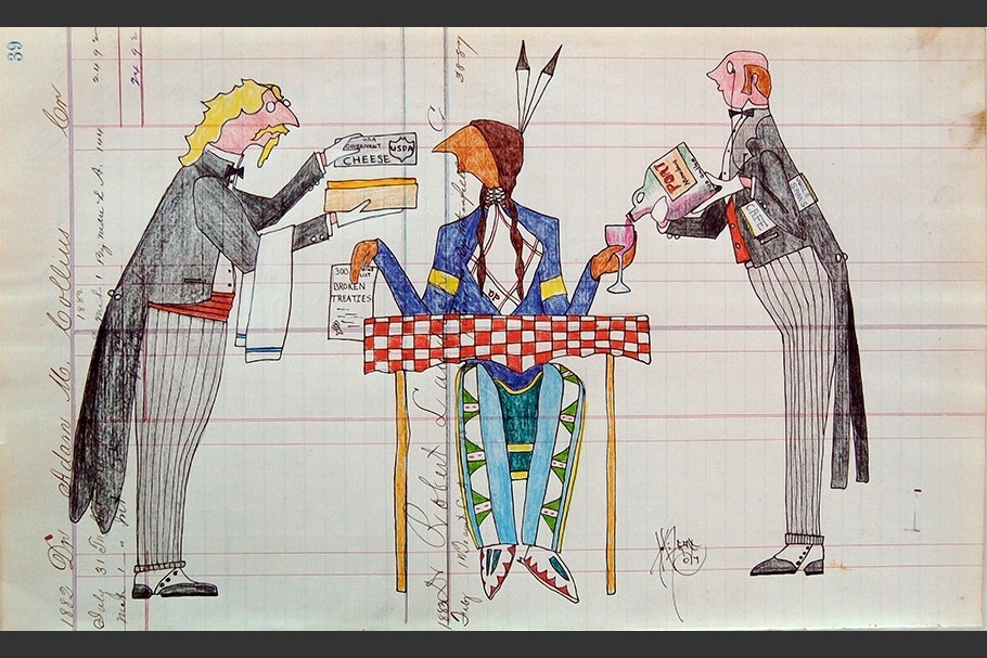 Drawing of waiters serving a Native American man.