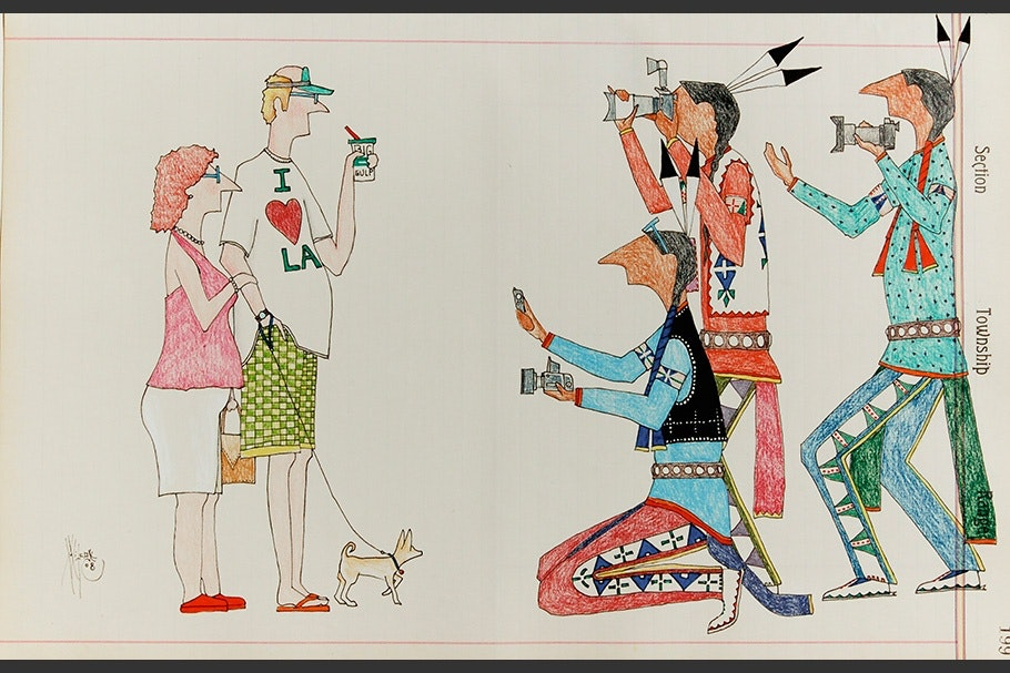 Drawing of Native Americans taking photos of a white couple.