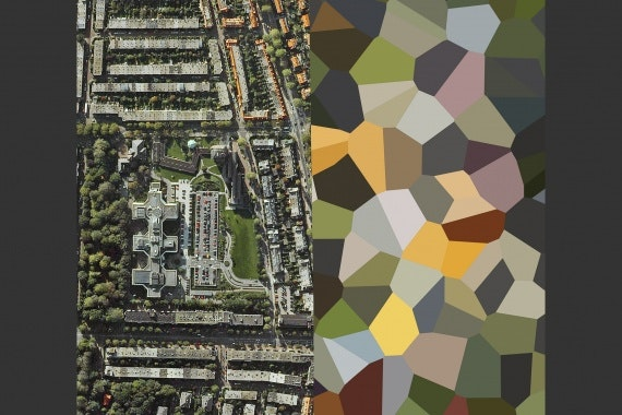 Google Earth image of landscape with colored polygon pattern on right half of image