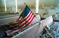Church pews with flag.
