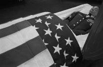 Soldier in casket.