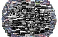 Composite image of photographs of buildings and storefronts