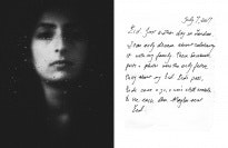 A diptych of a woman behind wet glass and a handwritten letter