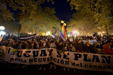 A night protest rally