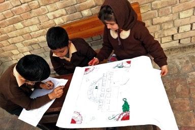 Students drawing