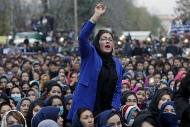 A crowd of protestors