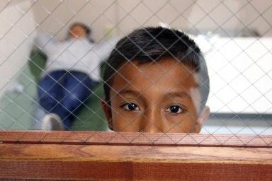 A boy's face at a window