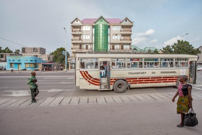 A city bus on a street